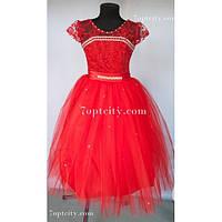 Платье детское нарядное Доминик красное 6-7 лет