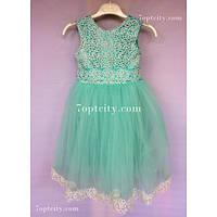 Платье детское нарядное Татьяна мятное 4-5 лет
