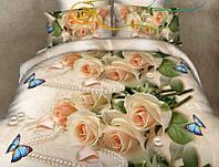 """Комплект постельного белья двуспальный ТМ """"Ловец снов"""", Роза персик (бязь)"""