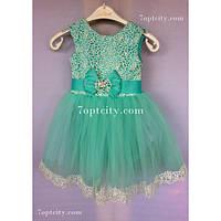 Платье детское нарядное Татьяна мятное 3 года