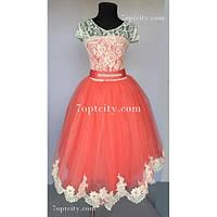 Платье детское нарядное Доминик Шантильи коралловое -7 лет