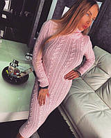 Платье Doratti  вязаное косичка теплое с воротником под горло пряжа 3 цвета SMdor1131