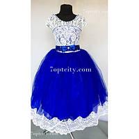 Платье детское нарядное Доминик Шантильи синее 6-7 лет