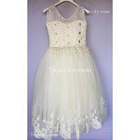 Платье детское нарядное Марианна белое, кремовое 7-9 лет