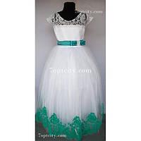 Платье детское нарядное Мария бархат мятное 7-9 лет
