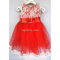 Платье детское нарядное Шантильи красное 3-4 года