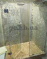 Душевая перегородка фронтальная из матового стекла (крепление двери на стекло)