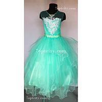Платье нарядное Карина мятное 7-9 лет Dina-16a