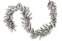 Новогодняя гирлянда -ветка из искусственной хвои с морозными ягодами, 145см. только по 2 шт!!