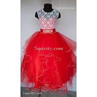 Платье детское нарядное Карина красное 7-9 лет