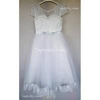 Платье детское нарядное Принцесска белое 6-8 лет