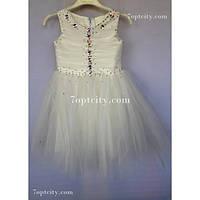 Платье детское нарядное Жемчуг кремовое 3-4 года