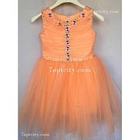 Платье детское нарядное Жемчуг персик 3-4 года
