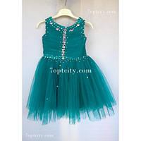 Платье детское нарядное Жемчуг зеленое 3-4 года