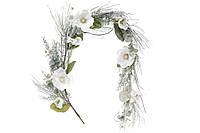 Новогодняя гирлянда -ветка из искусственной хвои с белыми цветами, 120см. только по 2 шт!!
