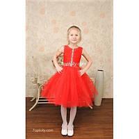 Платье детское нарядное Жемчуг красное 3-4 года