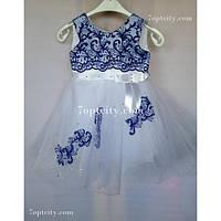 Платье детское нарядное Аппликация белое 3 года