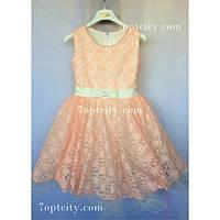 Платье детское нарядное Гипюр Диана пудра 4-6 лет