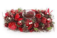 Подсвечник с декором из хвои и цветов, красный. 27 см