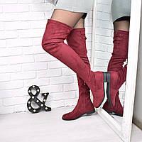 Сапоги женские ботфорты Senty бордо 3783, обувь днепр