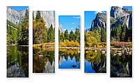 Модульная картина озеро в горах 3д