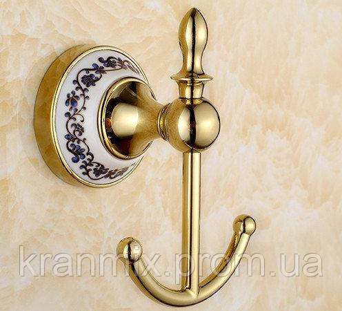 Крючок для ванной золото керамика