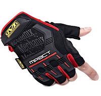 Перчатки тактические беспалые черные  с красным M3_B_R
