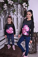 Набор свитшотов с лилией  для мамы и дочки Код:518153077