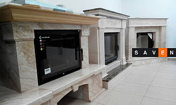 Портал для камина (облицовка) Тунис из натурального мрамора Botticino/Volakas, фото 2