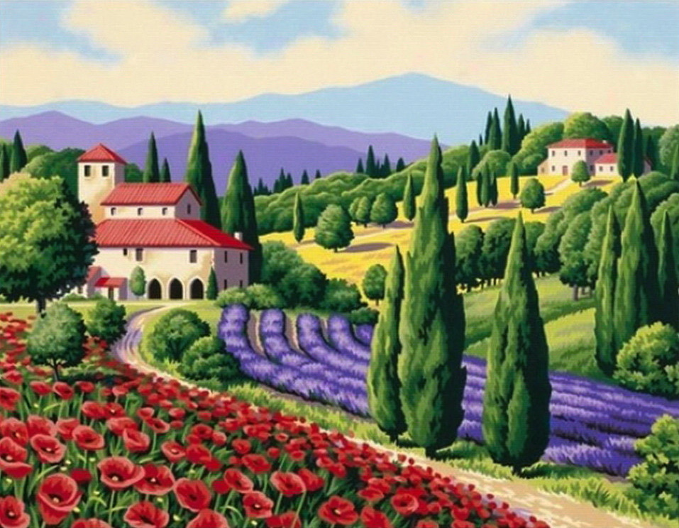 Картина по номерам «Идейка» (КН083) Тосканский пейзаж, 50x40 см