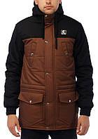 """Зимняя куртка парка мужская Ястребь """"Тарас"""" NEW (Wind Proff) черный- коричневый"""