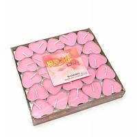 Свечи чайные Сердечки розовые 50 шт