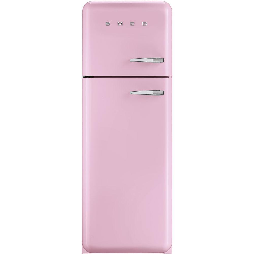 Отдельностоящий двухдверный холодильник, стиль 50-х годов Smeg FAB30LPK3 розовый