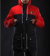 Зимняя длинная куртка мужская «Ястребь» Тарас Зима Черно-красная