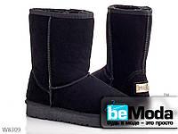 Модные и очень теплые женские угги PLPS НАТУЛЬНЫЕ черные на термопластичной резине