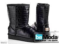 Стильные и очень теплые женские угги PLPS НАТУЛЬНЫЕ черные на термопластичной резине