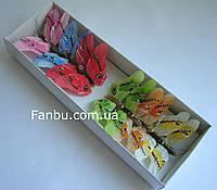 Средний набор декоративных бабочек из перьев на проволоке(1 комплект-12шт).