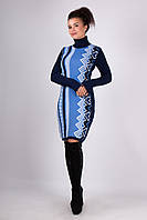 Платья осень зима Корица синий - голубой - белый