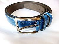 Мужской ремень синий с прошивкой 4 см — от компании Discounter.top