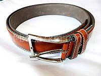 Мужской ремень с.коричневый с прошивкой 4 см — от компании Discounter.top