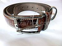 Мужской ремень т.коричневый с прошивкой 4 см — от компании Discounter.top