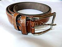 Мужской ремень коричневый с прошивкой 4 см — от компании Discounter.top