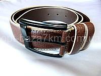 Мужской ремень коричневый/бежевый с прошивкой 4 см — от компании Discounter.top