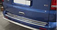 Накладка на задний бампер Volkswagen T5/ T6 (фольксваген т5/ Т6) с загибом БЕЗ логотипа, CARMOS нерж.