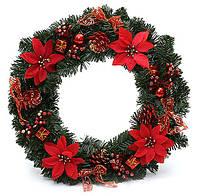 """Новогодний венок из зеленой мишуры с украшениями """"Красный"""", 40 см"""