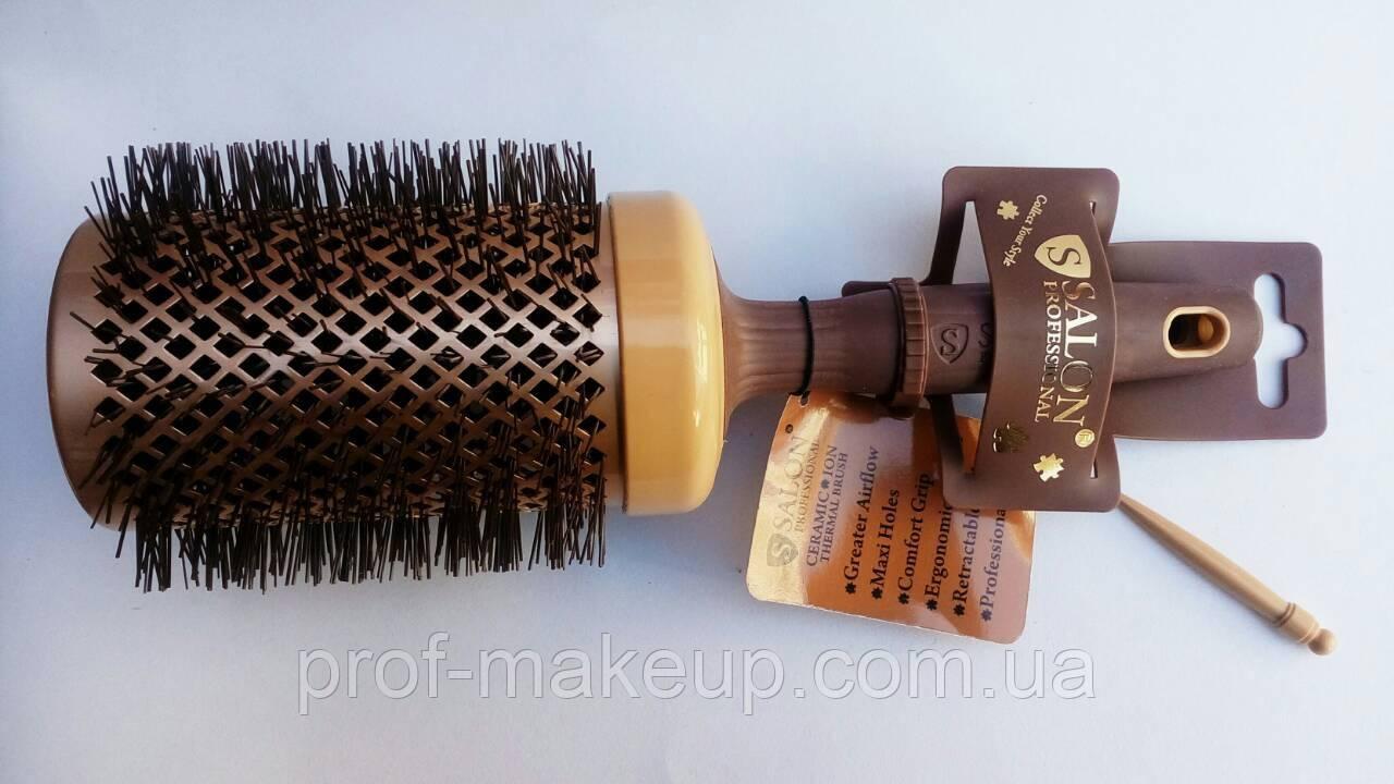 Расческа-браш Salon Professional,керамика, круглая,диаметром 65 мм