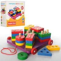Деревянная игрушка. Геометрика-каталка BX-112 (28 фигур) 18,5-19-8 см (Woody)