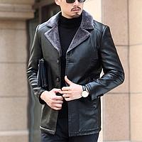 Чоловіча шкіряна куртка. Модель 61665, фото 2