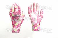Перчатки с Полиуретановым покрытием р7 (цветные садовые манжет)