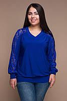 Женская блуза большого размера АМИНА электрик ТМ Таtiana 54-60  размер